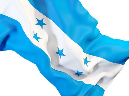Closeup of waving flag of honduras. 3D illustration