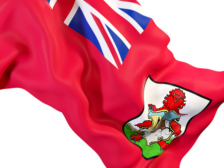 Closeup of waving flag of bermuda. 3D illustration