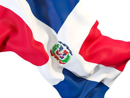 Closeup of waving flag of dominican republic. 3D illustration