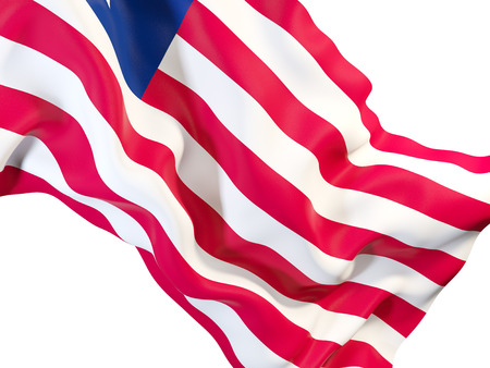 Closeup of waving flag of liberia. 3D illustration