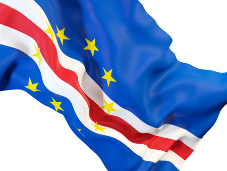 Closeup of waving flag of cape verde. 3D illustration