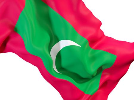 モルディブの国旗を振ってのクローズ アップ。3 D イラストレーション 写真素材