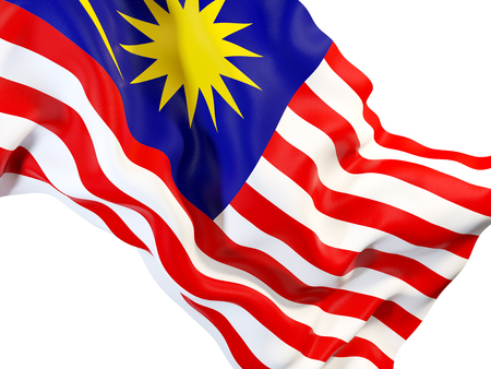 Closeup of waving flag of malaysia. 3D illustration Stock Photo
