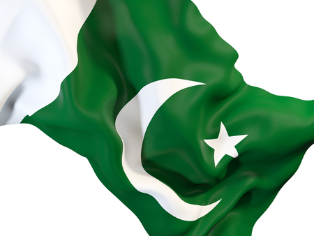 Closeup of waving flag of pakistan. 3D illustration Stock Photo