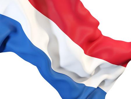 Close-up van golvende vlag van Nederland. 3D illustratie