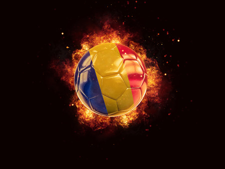 Football in flames with flag of romania on black background. 3D illustration