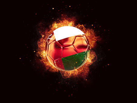 Football in flames with flag of oman on black background. 3D illustration Stock Photo