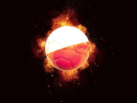 Football in flames with flag of poland on black background. 3D illustration Stock Photo