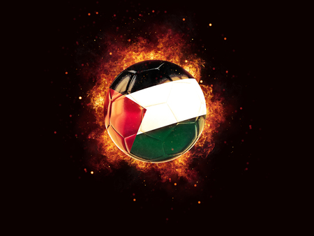 Football in flames with flag of palestinian territory on black background. 3D illustration