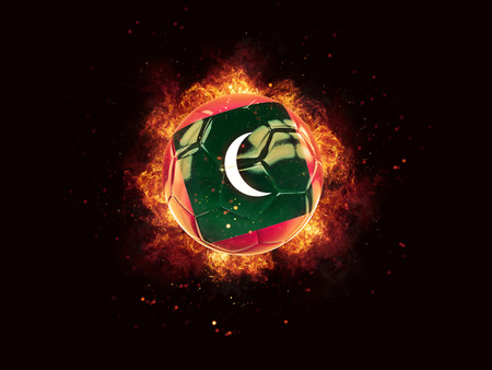 Football in flames with flag of maldives on black background. 3D illustration