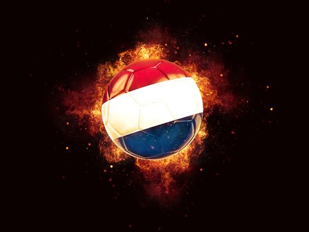 Football in flames with flag of netherlands on black background. 3D illustration