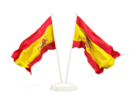 Two waving flags of spain isolated on white. 3D illustration