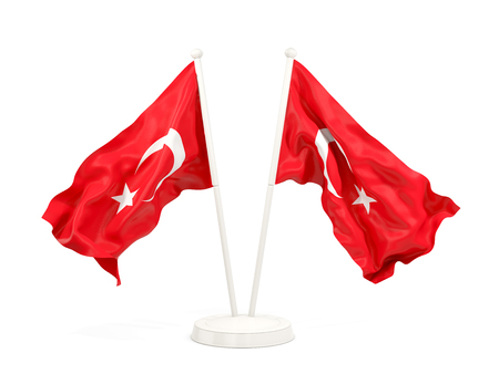 Two waving flags of turkey isolated on white. 3D illustration