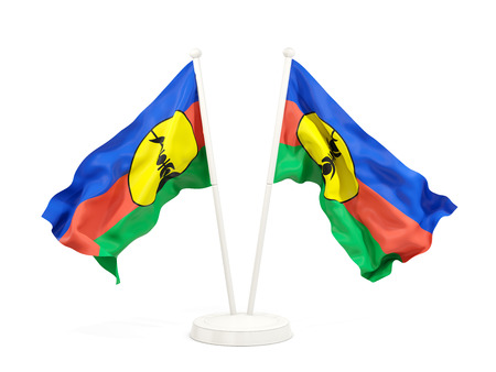 Two waving flags of new caledonia isolated on white. 3D illustration Stock Photo