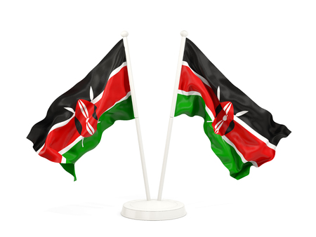 Two waving flags of kenya isolated on white. 3D illustration