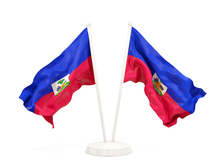 Two waving flags of haiti isolated on white. 3D illustration Stock Photo