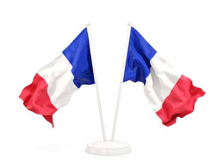 Two waving flags of france isolated on white. 3D illustration Stock Photo