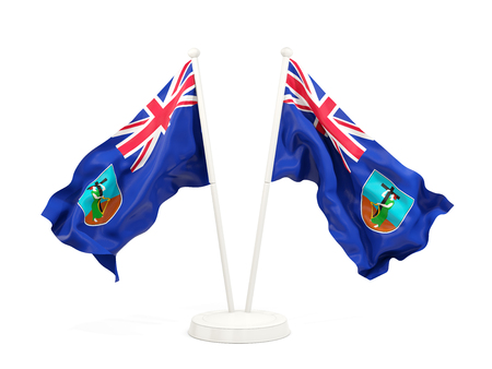 Two waving flags of montserrat isolated on white. 3D illustration Stock Photo