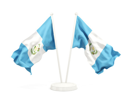 Two waving flags of guatemala isolated on white. 3D illustration Stock Photo