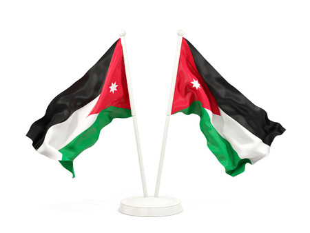 Two waving flags of jordan isolated on white. 3D illustration Stock Photo