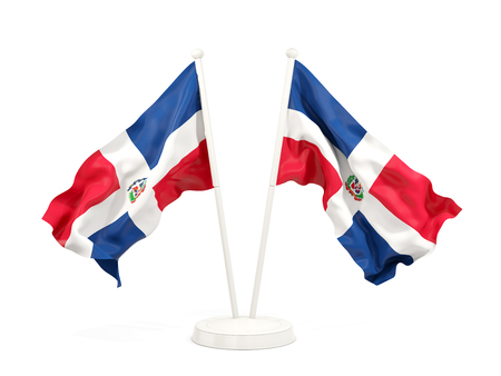 Two waving flags of dominican republic isolated on white. 3D illustration Imagens - 90932276