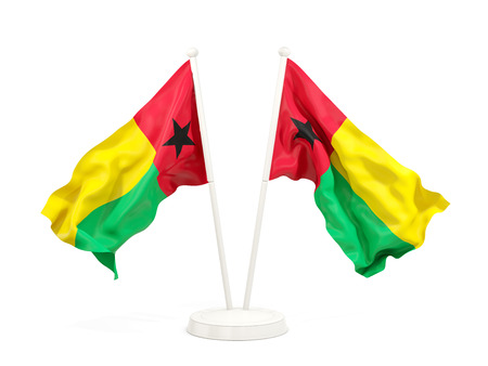 Two waving flags of guinea bissau isolated on white. 3D illustration Stock Photo