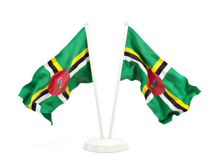 Two waving flags of dominica isolated on white. 3D illustration