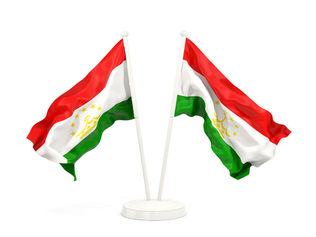 Two waving flags of tajikistan isolated on white. 3D illustration