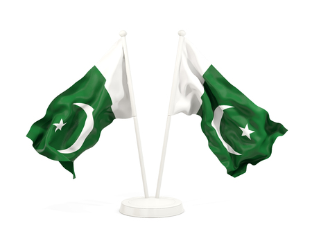 Two waving flags of pakistan isolated on white. 3D illustration Stock Photo