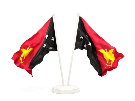 Two waving flags of papua new guinea isolated on white. 3D illustration Stock Photo