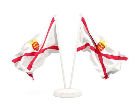 Two waving flags of jersey isolated on white. 3D illustration