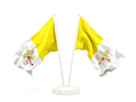 Two waving flags of vatican city isolated on white. 3D illustration