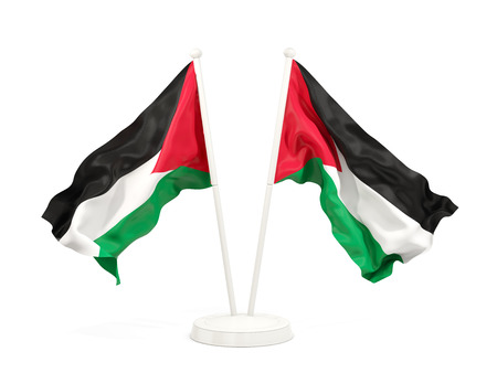 Two waving flags of palestinian territory isolated on white. 3D illustration