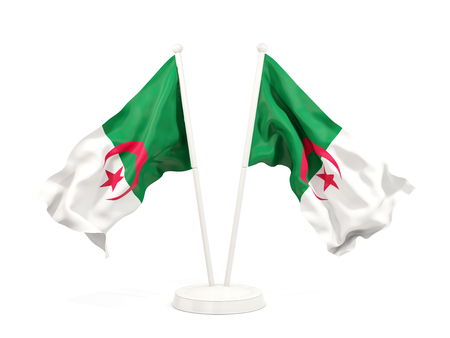 Two waving flags of algeria isolated on white. 3D illustration