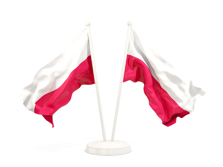 Two waving flags of poland isolated on white. 3D illustration Zdjęcie Seryjne