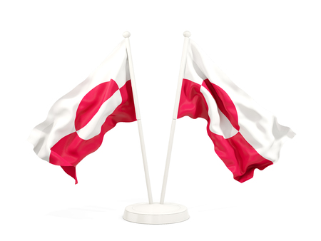 Two waving flags of greenland isolated on white. 3D illustration Stock Photo