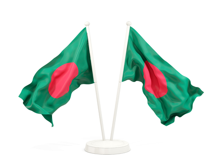 Two waving flags of bangladesh isolated on white. 3D illustration Stock Photo