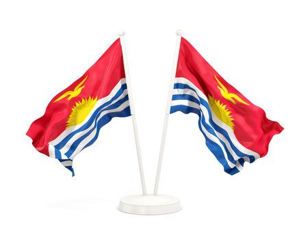 Two waving flags of kiribati isolated on white. 3D illustration