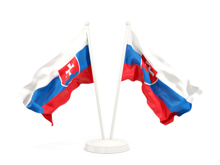 Two waving flags of slovakia isolated on white. 3D illustration