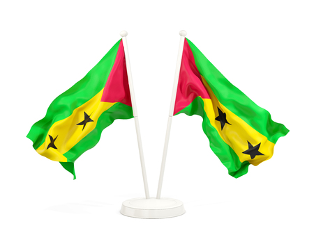 Two waving flags of sao tome and principe isolated on white. 3D illustration
