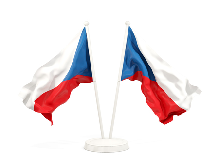 Two waving flags of czech republic isolated on white. 3D illustration Stock Photo