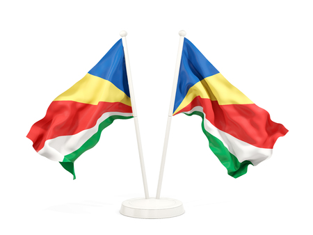 Two waving flags of seychelles isolated on white. 3D illustration