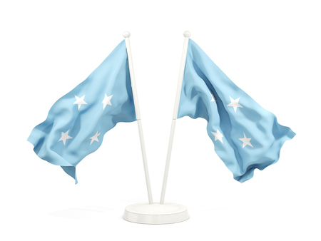 Two waving flags of micronesia isolated on white. 3D illustration