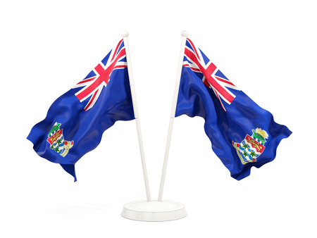 Two waving flags of cayman islands isolated on white. 3D illustration Stock Photo