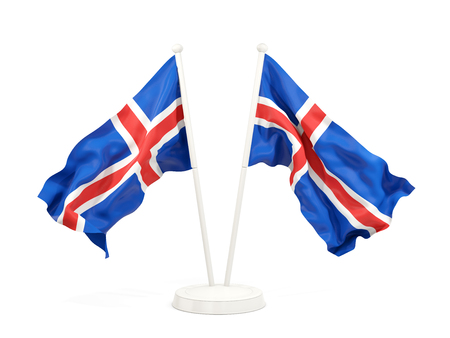 Two waving flags of iceland isolated on white. 3D illustration