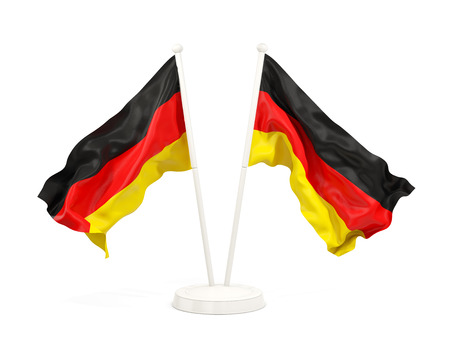 Two waving flags of germany isolated on white. 3D illustration