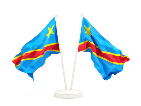 Two waving flags of democratic republic of the congo isolated on white. 3D illustration Stock Photo