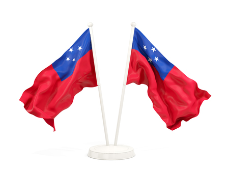 Two waving flags of samoa isolated on white. 3D illustration