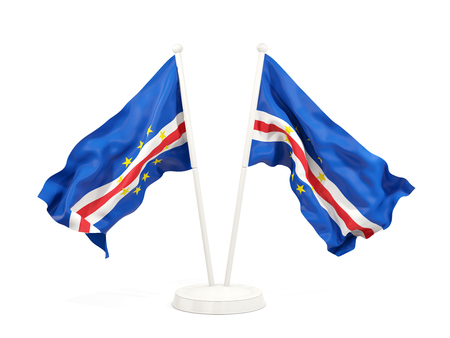 Two waving flags of cape verde isolated on white. 3D illustration
