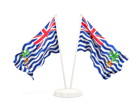 Two waving flags of british indian ocean territory isolated on white. 3D illustration